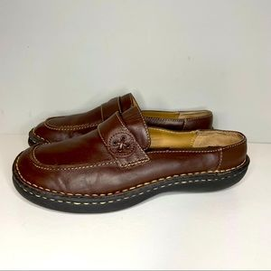 Cherokee Womens Leather Closed Toe Black Slip On Casual Shoes Size 6,5 Brown